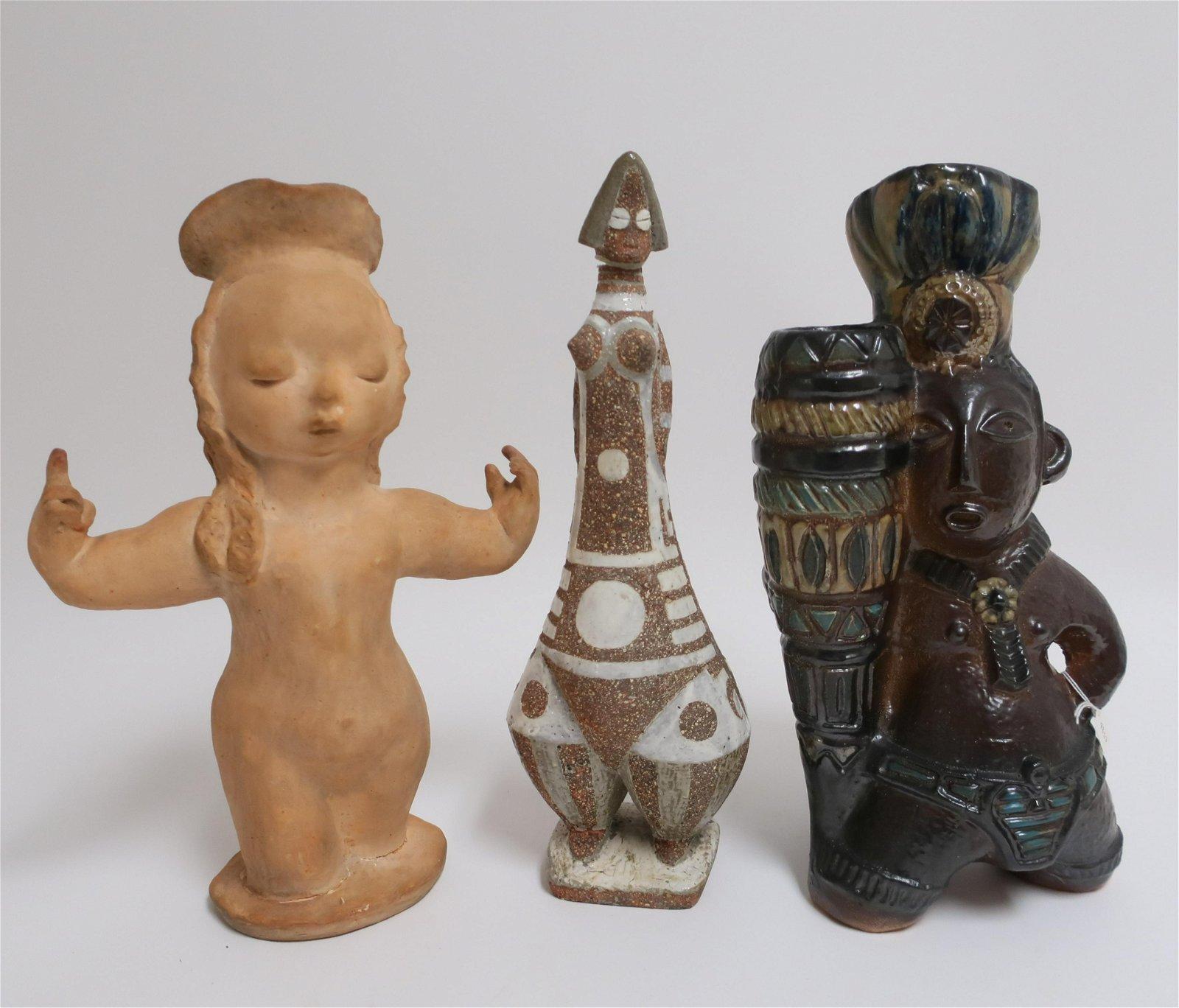 Roger Guerin Ceramic Figural Vase with 2 Figures