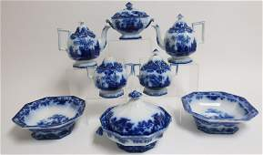 8 Flow Blue 'Scinde' Transferware Dishes, 19th C.