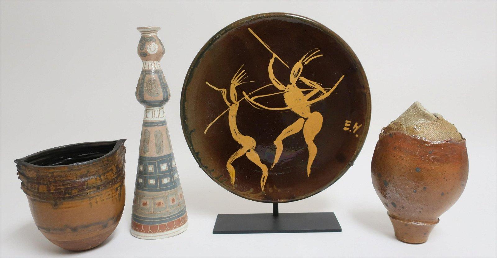3 Art Pottery Ceramic Vases & Platter on Stand