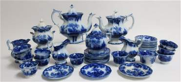 Flow Blue Scinde Transferware Tea Wares 19th C