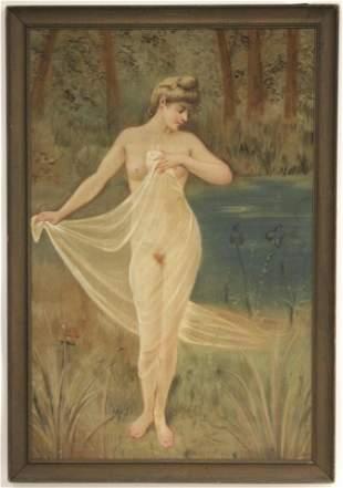 Female Nude in a Landscape, W/C, circa 1900
