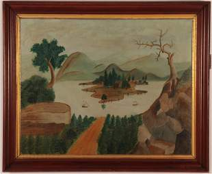 American Primitive View of the River, 19th C.