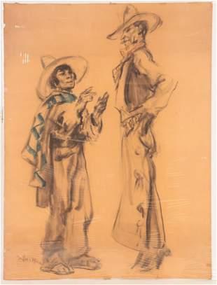 Francis Luis Mora - Cowboy and Hand Charcoal