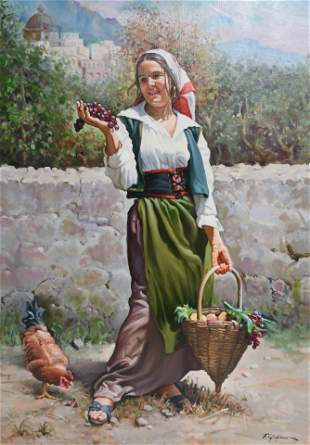 F A Giugliano Girl with Fruit Basket Hen