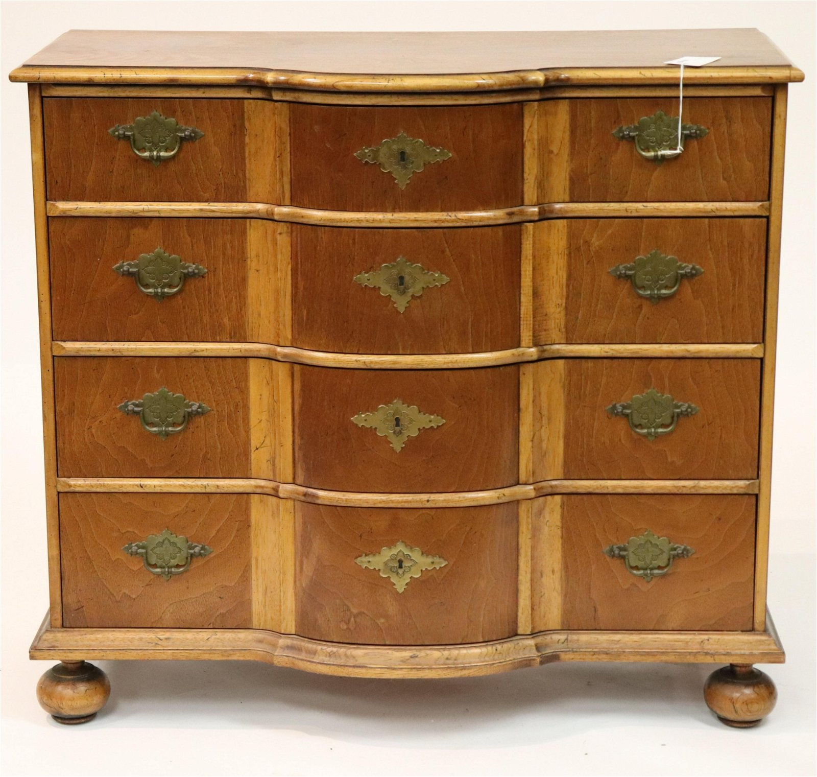George II Style Yew Wood Ox Bow Front Chest