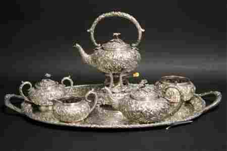 Samuel Kirk 7 pc Sterling Repousse Tea Set c. 1910