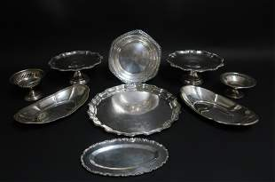 Sterling Silver Group of Trays Bowls Tazze