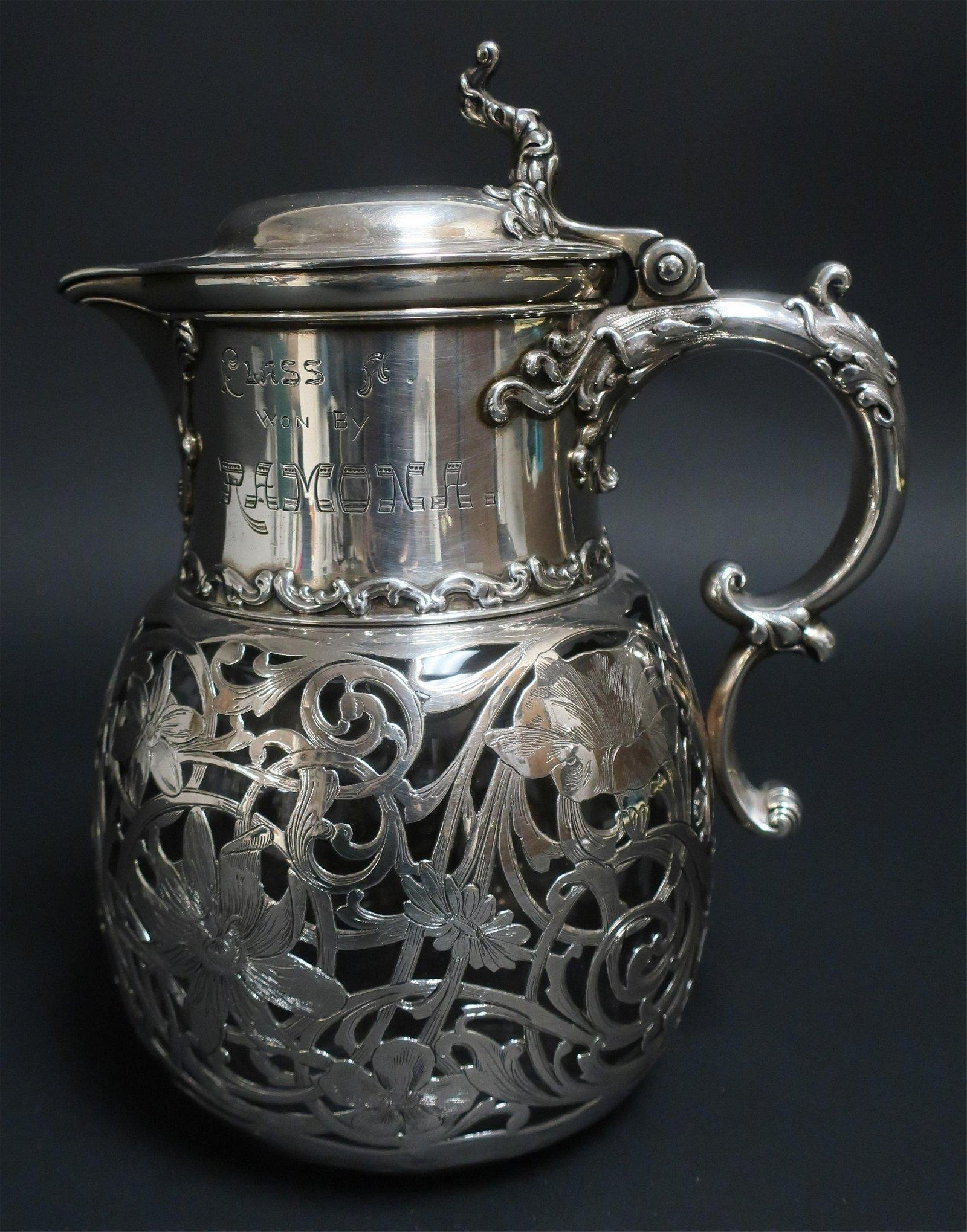 Art Nouveau Silver Overlay Trophy Pitcher