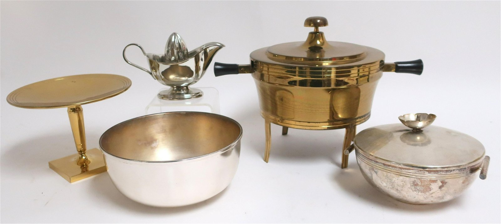 5 Tommy Parzinger for Dorlyn Brass & Silver Items