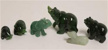 Group of 6 Chinese Carved Jade Animals
