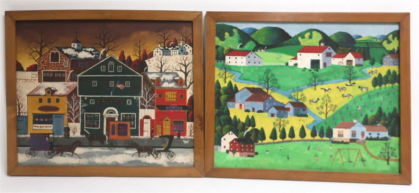 Pair American New England Folk Art Paintings