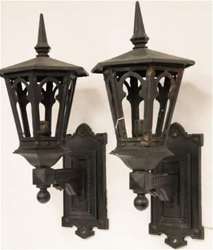 Pair of Hexagonal Large Cast Iron Wall Lanterns