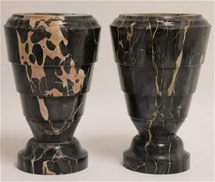 Pair of Black & White Marble Urns