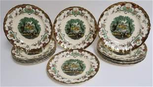 Set of 12 Leeds Ceramic Plates