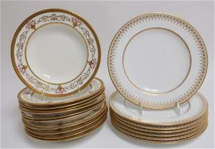 11 Aynsley Soup Plates & 7 Spode Plates