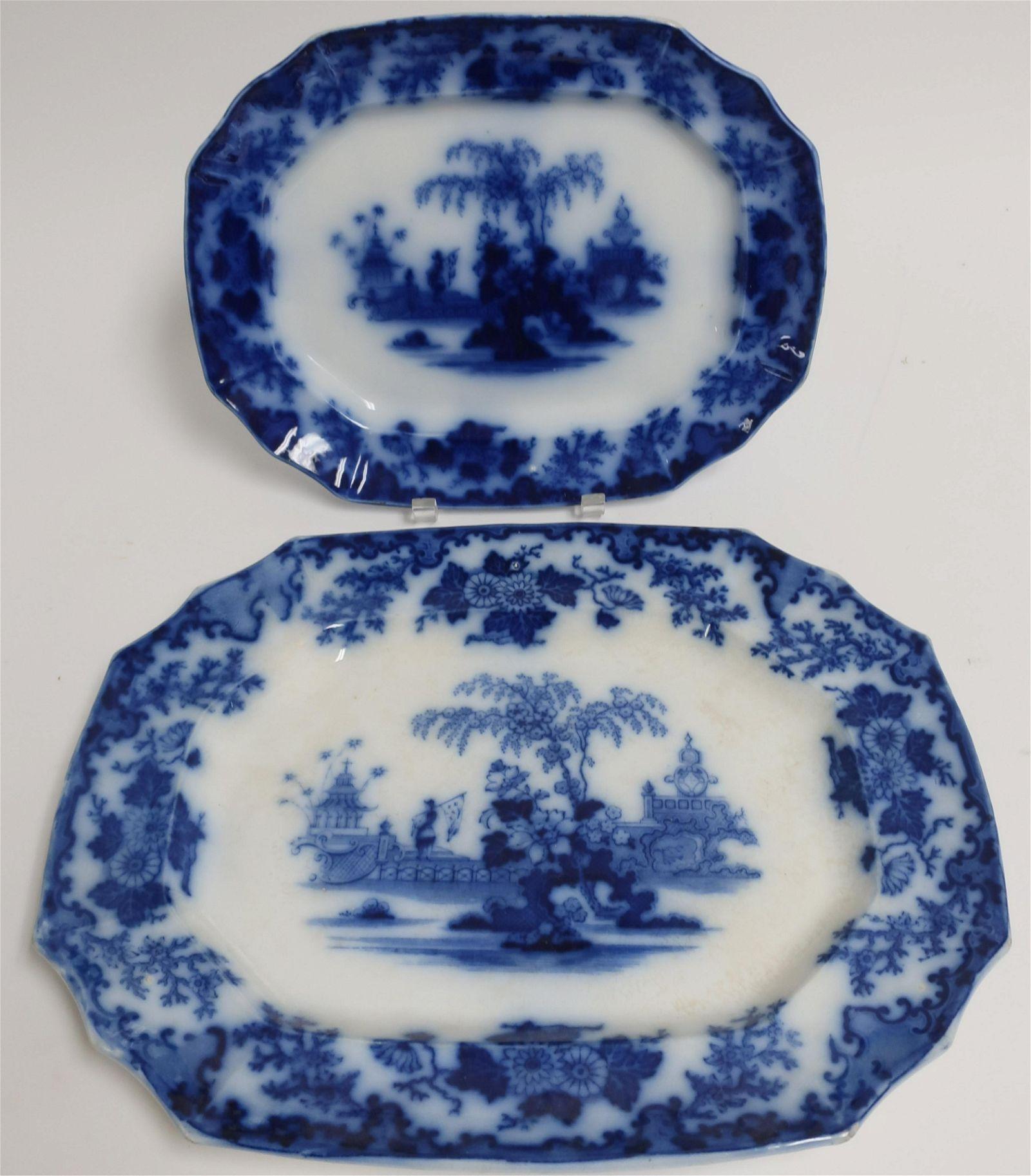 2 Flow Blue 'Scinde' Transferware Platters, 19th C