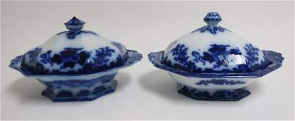 2 Flow Blue Scinde Transferware Covered Dishes