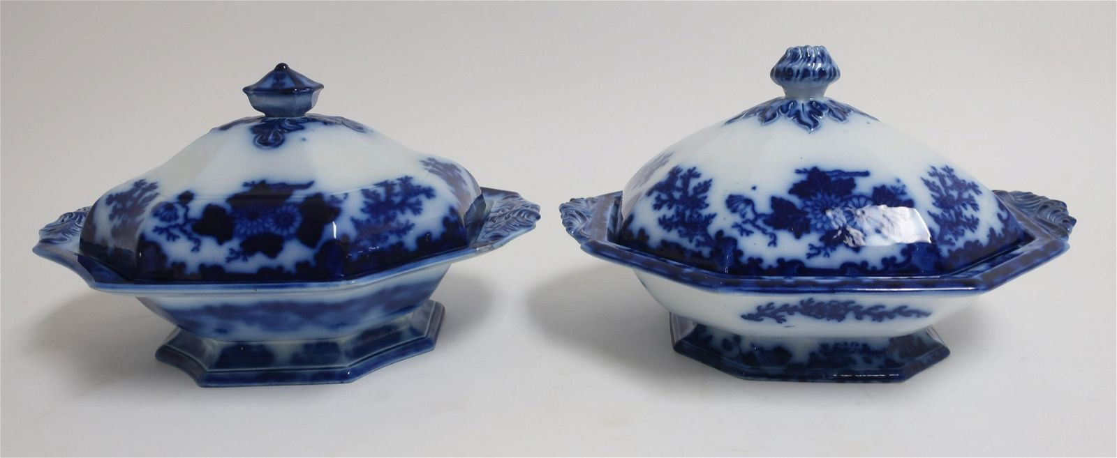 2 Flow Blue 'Scinde' Transferware Covered Dishes