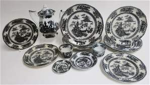 12 Pelew Mulberry Ironstone Transferware, 19th C.