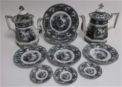 10 Cyprus Mulberry Ironstone Transferware, 19th C.