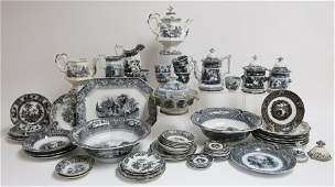 Approx. 60 Mulberry Ironstone Transferware Pieces