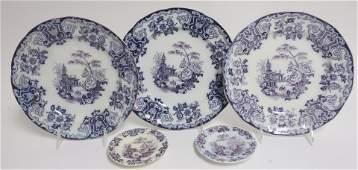 5 Simla Lavender Mulberry Ironstone Plates, 19th C