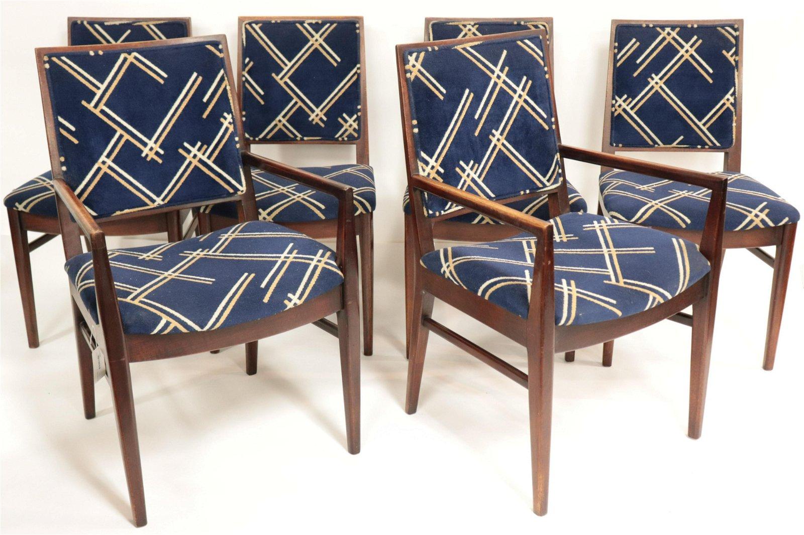 Set of 6 John Stuart Modern Walnut Dining Chairs