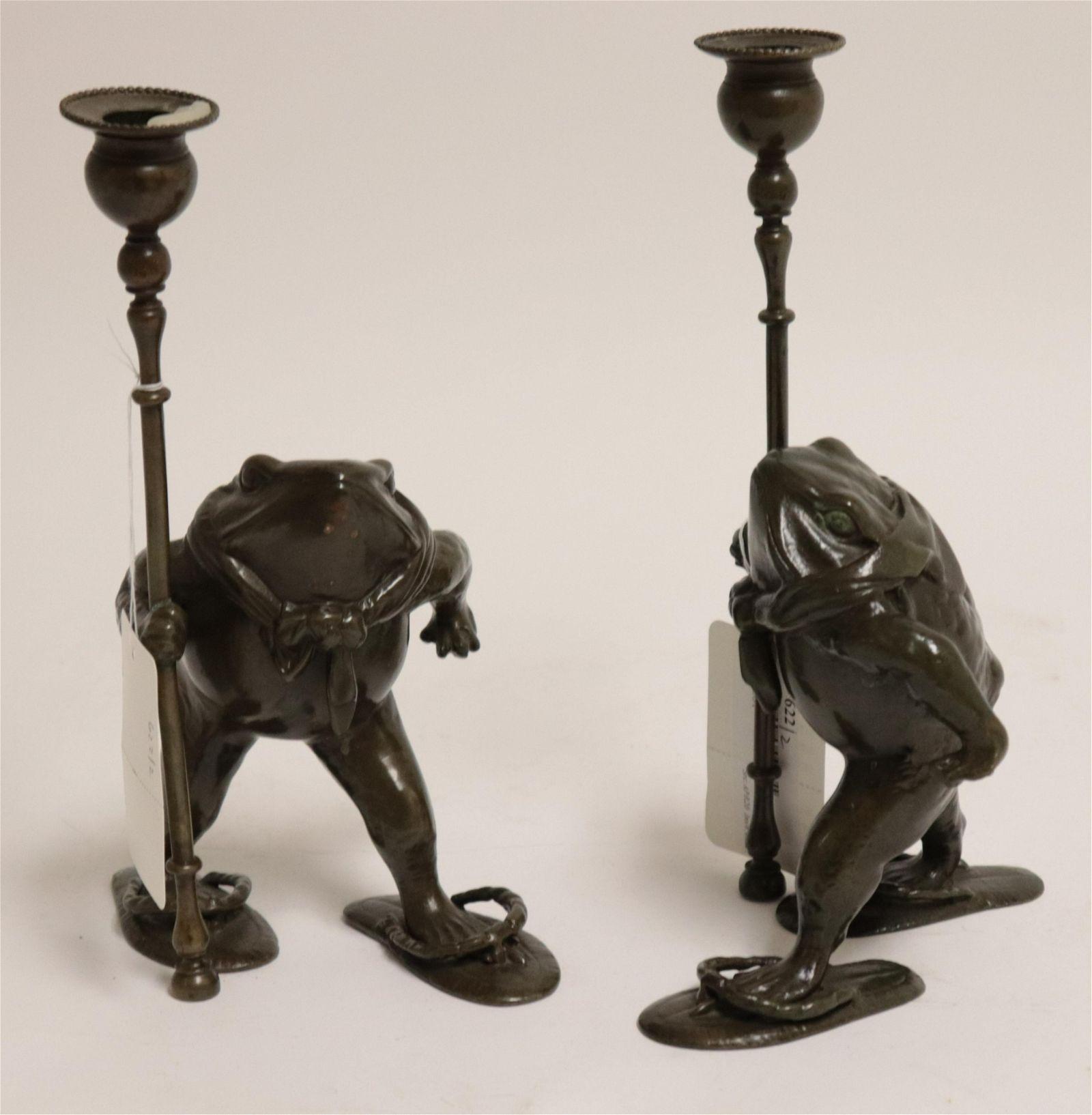 "Pair Patinated Bronze ""Bullfrog"" Candlesticks"