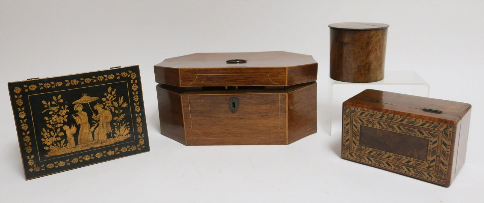 4 English Wood Boxes, 19th C. and later