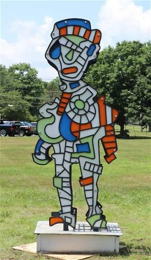 "P. Corvino ""Mr. Machine"" Painted Metal Sculpture"