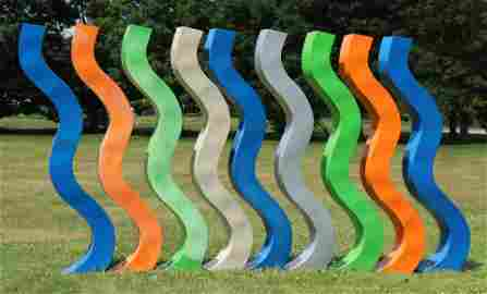 "P. Corvino, ""Squiggles"" Painted Metal Sculptures"