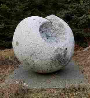 David Sywalski Large Granite Orb Outdoor Sculpture