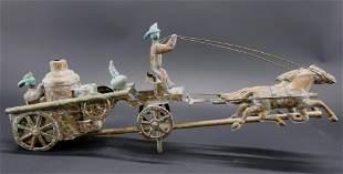 Copper Fire Pumper Double Horse Weathervane