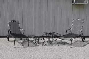 Russell Woodard Chaise & Tables