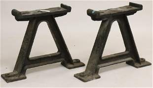 Pair Industrial Cast Iron Trestle Supports