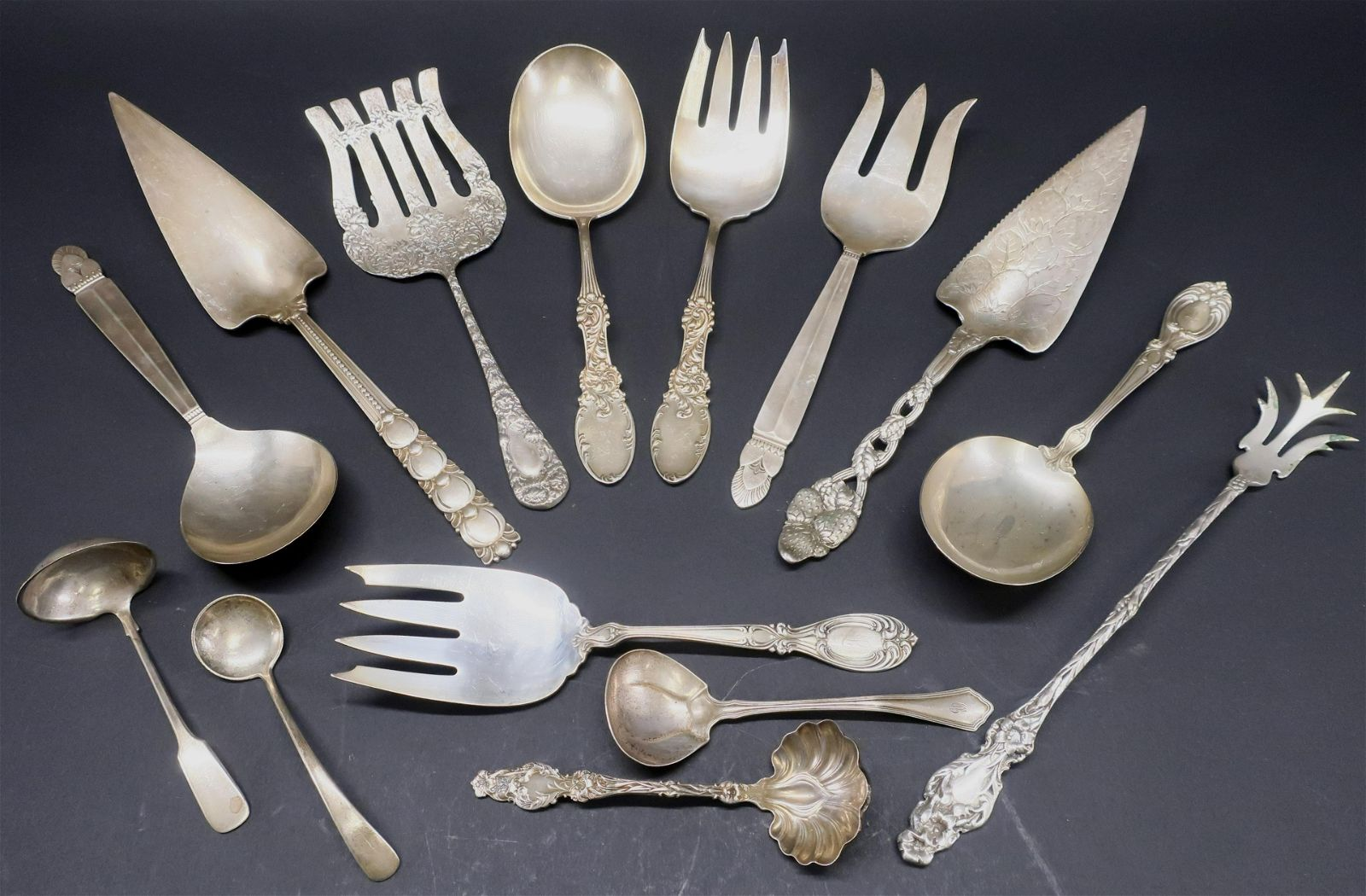 14 American Sterling Silver Flat Serving Pieces