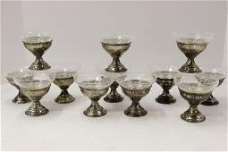 12 Etched Glass  Sterling Sherbets