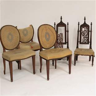 5 Side Chairs with Needlwork Upholstery