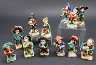 12 Capodimonte Porcelain Musicians Figures
