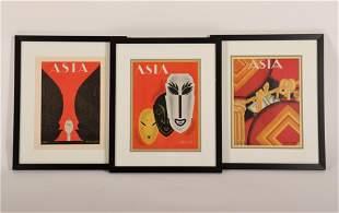 3 Framed Asia Magazine Covers c 192030