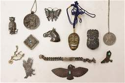 7 Sterling Silver Brooches & Other Items