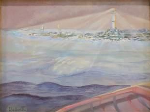 Anne Blodgett Lighthouse paint on board