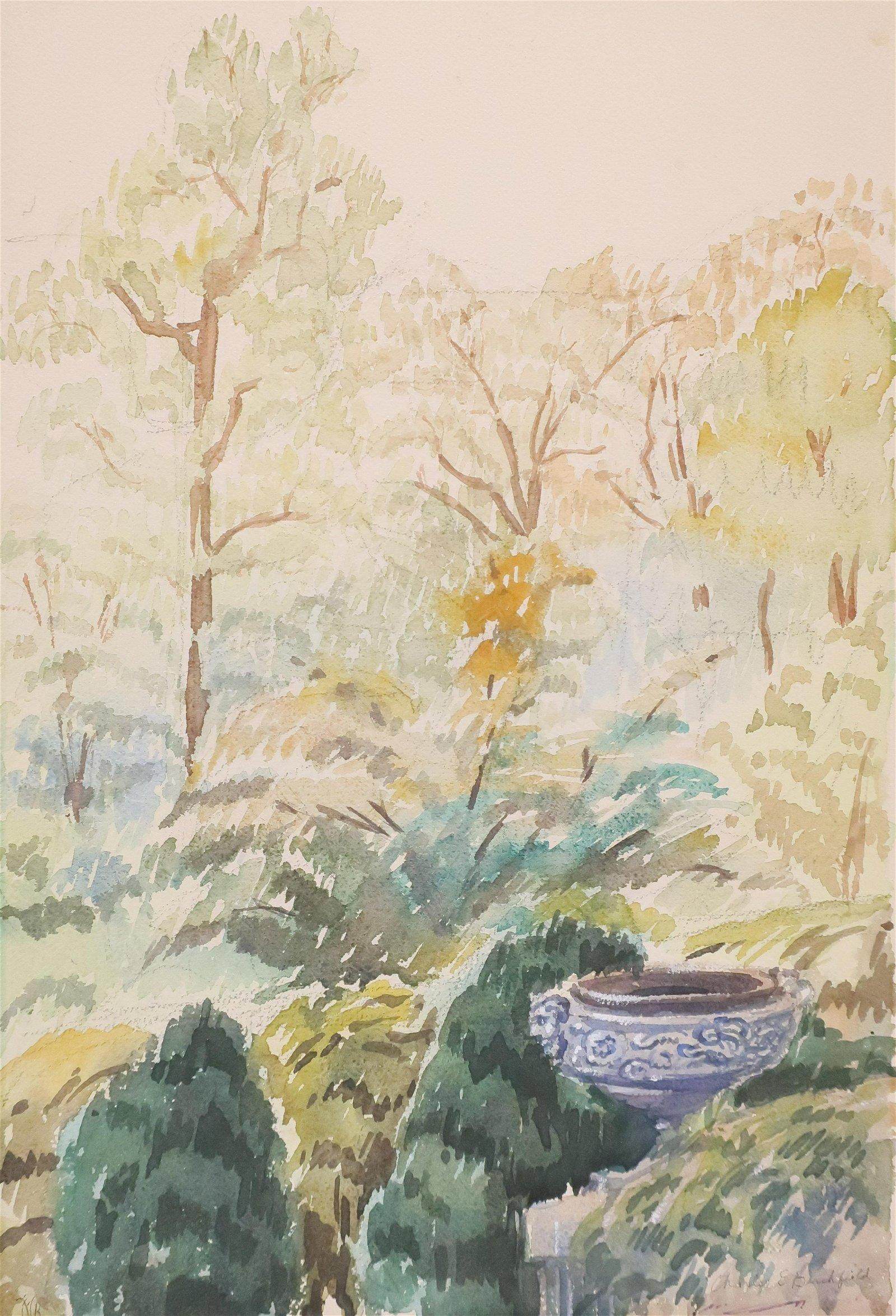 Charles Burchfield - Urn in Landscape W/C