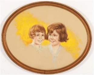 Jules Cannert Schultz Sisters Pastel c 1929