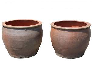 Near Pair Round Terracotta Planters