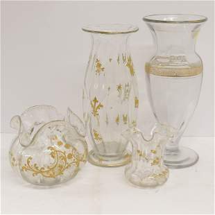 4 Gilt Decorated Clear Glass Vases