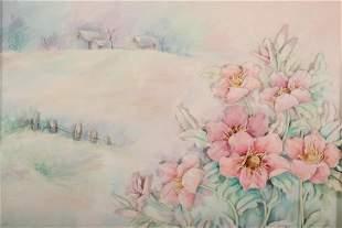 Flower Garden in a Landscape Mixed Media