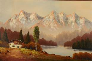 Mountains Chalet Oil on Canvas