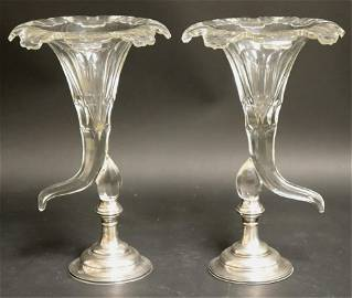 Pair Cut Glass Cornucopia Vases W/ Sterling Bases