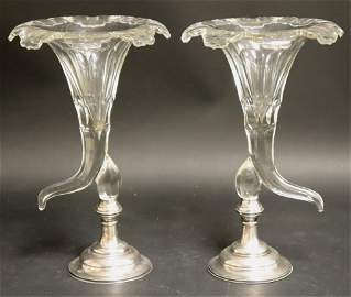 Pair Cut Glass Cornucopia Vases W/ Sterling Bases